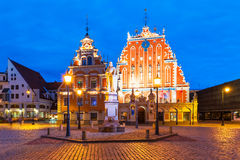 Evening scenery of the Old Town Hall Square in Riga, Latvia Stock Images