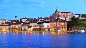 Evening scenery of the Old Town in Stockholm, Sweden stock footage