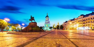 Evening scenery of Sofia Square in Kyiv, Ukraine Stock Images