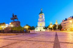 Evening scenery of Sofia Square in Kyiv, Ukraine Stock Photos