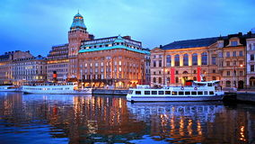 Evening scenery of Stockholm, Sweden stock video footage