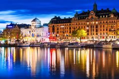 Evening scenery of Stockholm, Sweden Royalty Free Stock Images