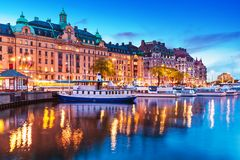 Evening scenery of Stockholm, Sweden Stock Images