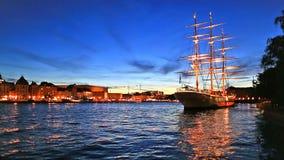 Evening scenery of Stockholm, Sweden stock video