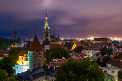 Evening scenic summer aerial panorama of the Old Tallinn stock photography