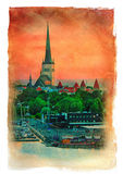 Evening scenic summer view of Tallinn, Estonia. Royalty Free Stock Images