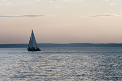 Evening on the sea. Sea evening with the yacht Royalty Free Stock Photo