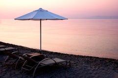 Evening Sea And Umbrella Royalty Free Stock Photos