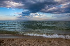 Evening sea coast ecology clear nature clouds. Landscape evening sea coast cloud cky ecology Royalty Free Stock Photos