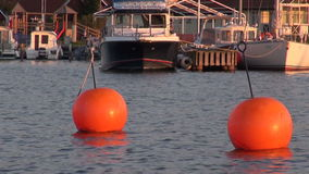 Evening in sea harbor with a ships and orange orange buoys stock video footage