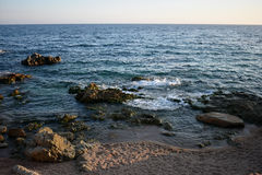 Evening sea. Sea in Lloret de MAr Stock Images