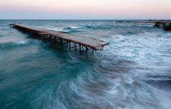 Evening sea storm (Black Sea, Bulgaria). Royalty Free Stock Photos