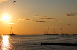Evening sea. Summer evening in Sochi, sunset Royalty Free Stock Photos