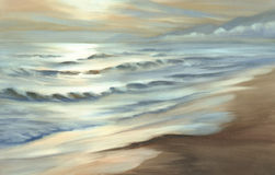 Evening seascape watercolor Stock Photography