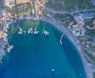 Evening seaside landscape. Aerial view of the Ciftlik bay. Turkey, Marmaris royalty free stock photos