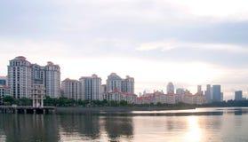 Evening seaside residential buildings Royalty Free Stock Image