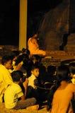 Evening service in Gal Vihara Temple.Gal Vihara Temple, buddha stone statue, ruins of ancient Royal Residence,UNESCO World Heritag Stock Image