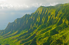 Evening shadows and mist in Hawaii Stock Images