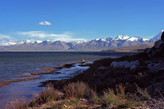 Evening shadows on the shore of sacred Manasarovar Lake in Tibet. Stock Image