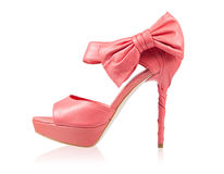 Evening shoes with a bow on a high heel Royalty Free Stock Images