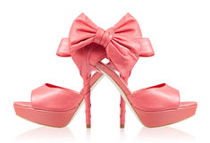 Evening shoes with a bow on a high heel. collage Royalty Free Stock Photo