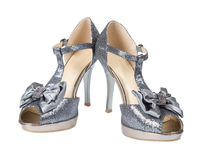 Evening shoes silver high heels Royalty Free Stock Photography