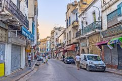 The evening in shopping street of Tunis Royalty Free Stock Image