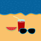 Evening shore with glasses, watermelon and drink in a glass. Vector evening shore with glasses, watermelon and drink in a glass Royalty Free Stock Photo