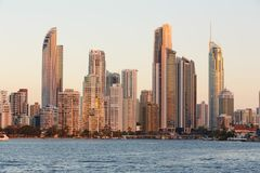 Australian modern city in the evening stock photography