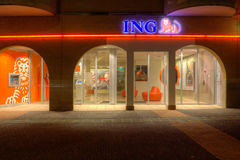 Evening shot of the Branch of ING stock images