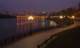 Evening shot of promenade in Donetsk. Royalty Free Stock Photography