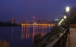 Evening shot of promenade in Donetsk. Royalty Free Stock Images