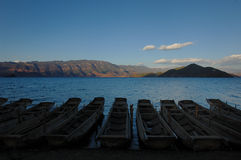 Evening of silent Lugu Lake. It's always so silent close to evening of Lugu Lake Stock Photography