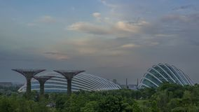 Evening at the Singapore Gardens by the Bay. Time Lapse stock video footage