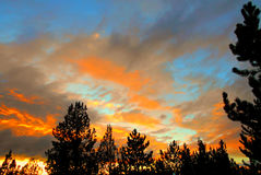 Evening Skies. Sunset skies at Eagle Crest Resort - Redmond, OR stock image