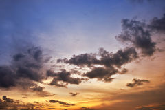 Evening Sky. Background in sunset setting Royalty Free Stock Photos
