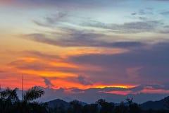 Dark Cloudy Twilight on Sky, Beautiful sundown, Cloud cross on blurry sunset and Flam-boyant, The Flame Tree, Royal Poinciana. Stock Images