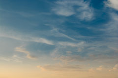 In the evening sky with clouds. Stock Photos