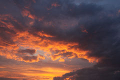 Evening sky. Clouds lit by the setting sun Royalty Free Stock Photography