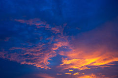 Evening Sky. The colours of the sky at dusk Royalty Free Stock Images