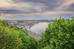 Evening sky on the dnieper river in kiev city Royalty Free Stock Photography