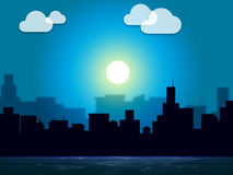 Evening Sky Indicates Night Time And Cityscape. Evening City Representing Night Time And Metropolis Royalty Free Stock Image