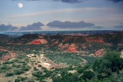 Evening sky with moon in the canyon Palo Duro. State Park, Texas. USA stock images