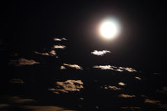 Evening sky with moon and clouds Royalty Free Stock Photos