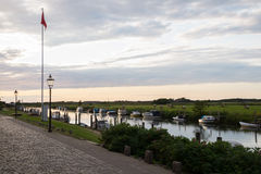 Evening sky over the harbour of Ribe, Denmark Royalty Free Stock Photo