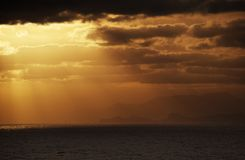 Evening sky over an ocean Royalty Free Stock Photos