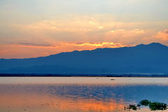 Evening sky And shadow in the lagoons Stock Images