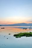 Evening sky And shadow in the lagoons Royalty Free Stock Image