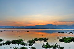 Evening sky And shadow in the lagoons Royalty Free Stock Photo