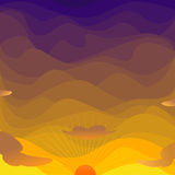 Evening sky. Sky with the sun in the evening Vector Illustration